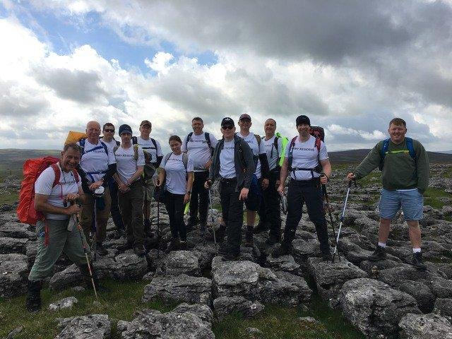 The 883 squadron members taking part in the Coast to Coast walk