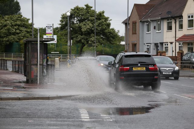 Flood water on Catcote Road in Hartlepool at the weekend.