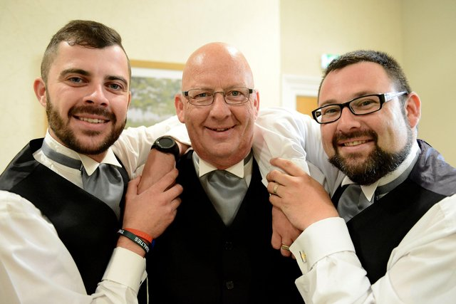Stephen Laughton with his son's Craig (left) and Daniel (right) at Strathmore House, Hartlepool. Picture by FRANK REID