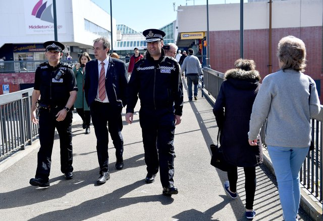 Richard Lewis, Chief Constable Cleveland Police and Crime Commissioner Barry Coppinger walking around the town centre area of Hartlepool.