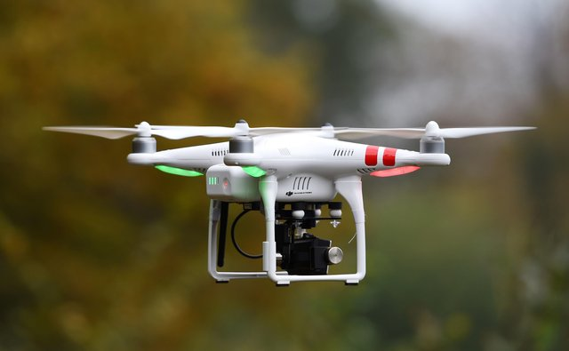 Police will be given stop and search powers around airports and prisons in new drone legislation going through Parliament. Photo: Joe Giddens/PA Wire