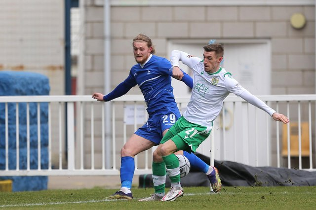 Tom Knowles of Yeovil Town blocks a cross from Hartlepool United's Luke Armstrong  during the Vanarama National League match between Hartlepool United and Yeovil Town at Victoria Park, Hartlepool on Saturday 20th February 2021. (Credit: Mark Fletcher | MI News)
