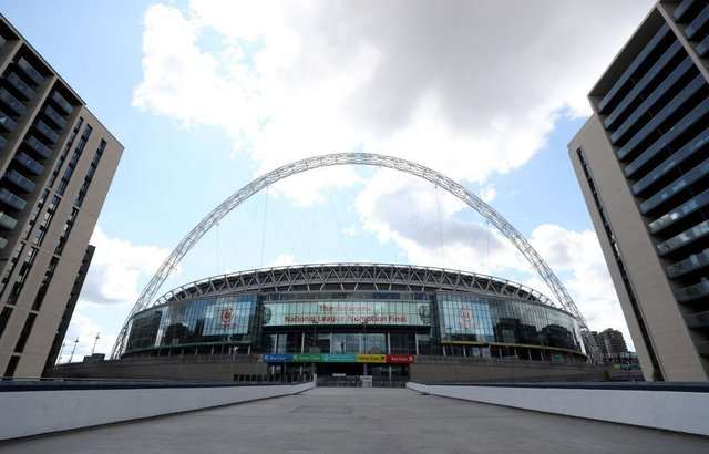 General view outside the stadium ahead of the Wembley Stadium on August 02, 2020 in London, England ahead of the National League play-off final. (Photo by Catherine Ivill/Getty Images)