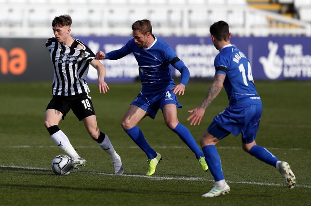 Gary Liddle of Hartlepool United and Jimmy Knowles of Notts County during the Vanarama National League match between Hartlepool United and Notts County at Victoria Park, Hartlepool on Saturday 10th April 2021. (Credit: Chris Booth   MI News)