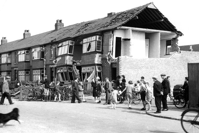 The damage from a German air raid is clear to see in this view of Brenda Road.