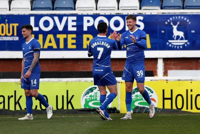 Richie Bennett netted his fifth goal in only his second start for Pools (Credit: Chris Booth | MI News)