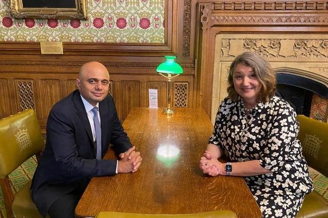 Hartlepool MP Jill Mortimer with new health secretary Sajid Javid in Westminster.