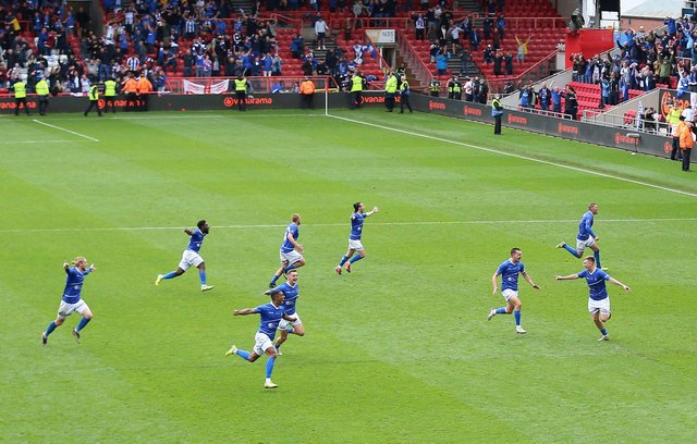 Hartlepool United players celebrate after winning the shoot-out and promotion after the Vanarama National League play-off final at Ashton Gate, Bristol.