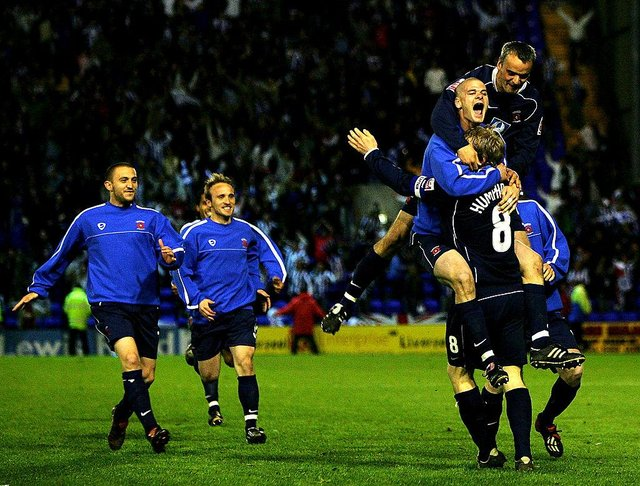 Ritchie Humphreys of Hartlepool United celebrates with his team after winning the  League One semi-final, second leg play-off match between Tranmere Rovers and Hartlepool United at Prenton Park on May 17, 2005 in Tranmere, England. (Photo by Bryn Lennon/Getty Images)