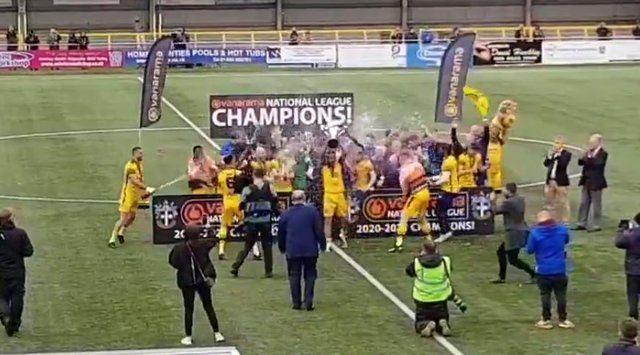 Sutton celebrate the league title.