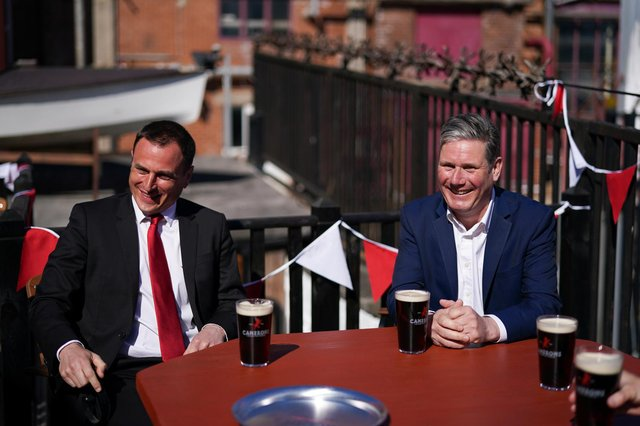 Labour leader Sir Keir Starmer and by-election candidate Dr Paul Williams at Camerons Brewery, in Hartlepool.