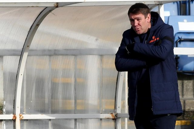 Hartlepool United manager Dave Challinor during the Vanarama National League match between Hartlepool United and Notts County at Victoria Park, Hartlepool on Saturday 10th April 2021. (Credit: Chris Booth | MI News)