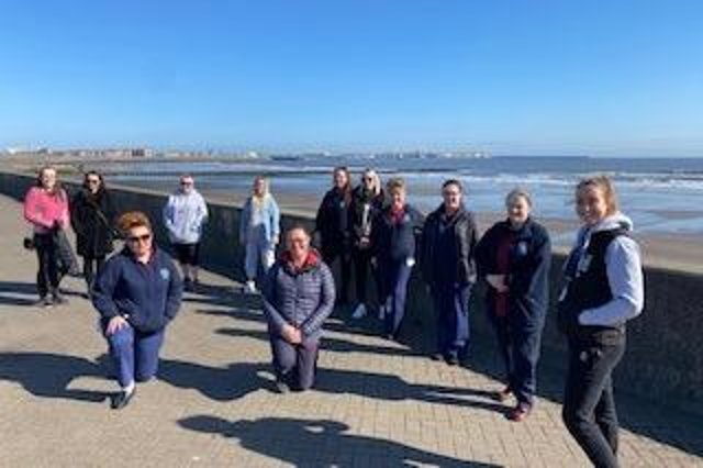 Hartlepool mums-to-be join Beach Bumps walk to enjoy exercise in the sunshine./ Photo: North Tees and Hartlepool NHS Foundation Trust