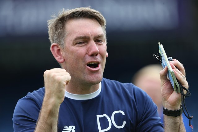 Hartlepool manager, Dave Challinor celebrates after the final whistle during the Vanarama National League match between Stockport County and Hartlepool United at the Edgeley Park Stadium, Stockport on Sunday 13th June 2021. (Credit: Mark Fletcher | MI News)