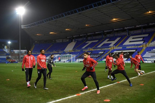 Middlesbrough players warm up ahead of their game against Coventry at St Andrew's.