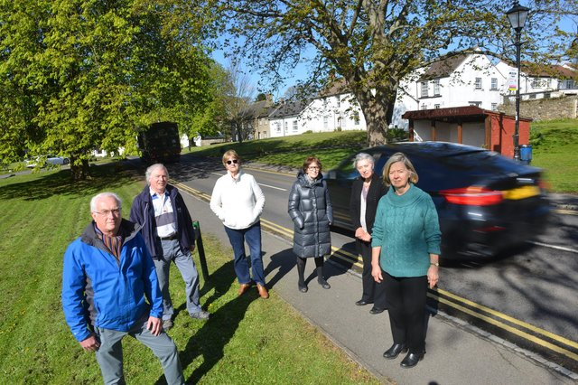 Pictured in Elwick are, front, from left, Greatham Parish Council chair Brian Walker and Elwick Parish Council chair Hilary Thompson. Back, from left, fellow campaigners Keith Park, Minna Ireland, Lyn Noble and Barbara Irving.