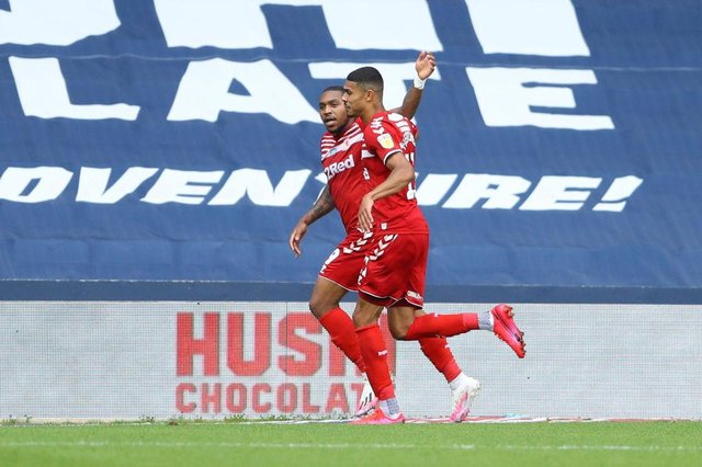 Britt Assombalonga and Ashley Fletcher playing for Middlesbrough.