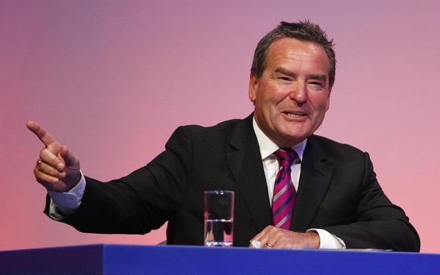 BOURNEMOUTH, ENGLAND - MARCH 19:  Jeff Stelling addresses the audience during Gillette Soccer Saturday Live with Jeff Stelling on March 19, 2012 at the Bournemouth International Centre in Bournemouth, England.  (Photo by Bryn Lennon/Getty Images)