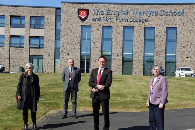 Left to right: Shadow Education Secretary Kate Green, headteacher of English Martyrs School and Sixth Form College Stephen Hammond, prospective parliamentary candidate for Hartlepool Dr Paul Williams and chief executive of Bishop Hogarth Catholic Education Trust Maura Regan.
