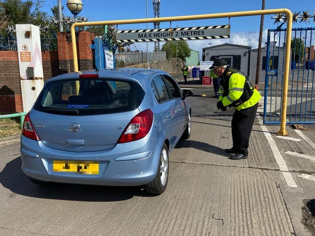 A car visits Hartlepool Household Waste Recycling Centre on the first day of its reopening since being shut due to the coronavirus pandemic.