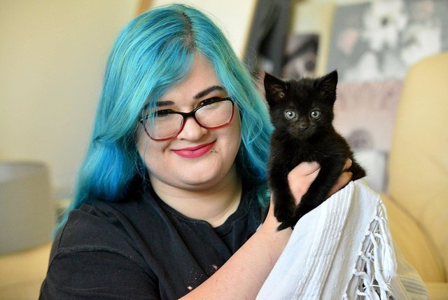 Amber Clayton, of Second Chance - Hartlepool Cat Rescue with Chance the kitten. Picture by FRANK REID