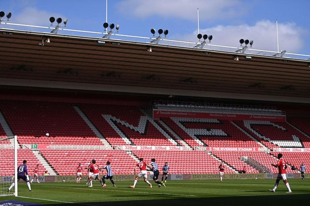 A Championship match between Middlesbrough and Sheffield Wednesday at Riverside Stadium.