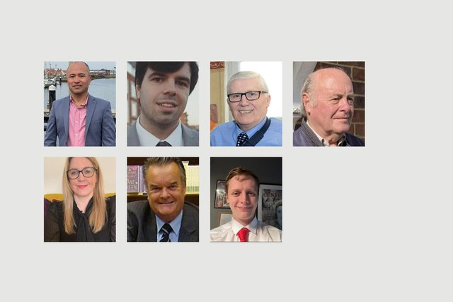 Hart ward election candidates. Top row, from left to right, Elver Alicarte, Tom Cassidy, Rob Cook and David Innes. Bottom row, left to right, Melanie Morley, John Riddle and Cameron Sharp.