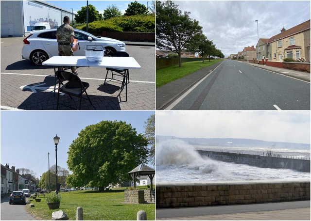 Clockwise from top left, Covid testing in Hartlepool and the West View, Headland and Elwick areas of Hartlepool, which are part of larger areas to have seen recent rises in the number of coronavirus cases across town.