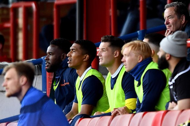 Hartlepool United's substitutes bench v Aldershot Town (photo: Frank Reid)