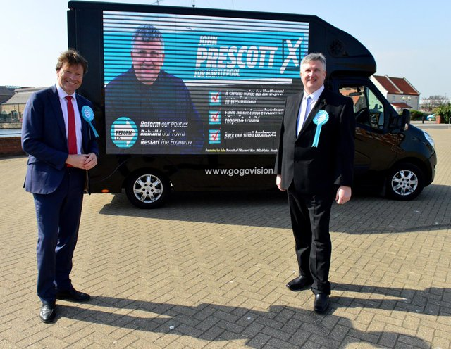 Richard Tice, left, and Reform UK's Parliamentary candidate John Prescott at The Highlight, Hartlepool. Picture by Frank Reid