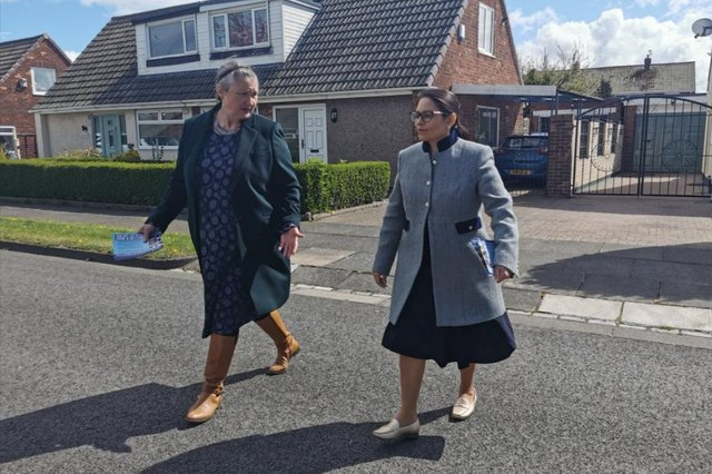 Hartlepool by-election Conservative candidate Jill Mortimer (left) with Home Secretary Priti Patel in Fens Crescent, Hartlepool.