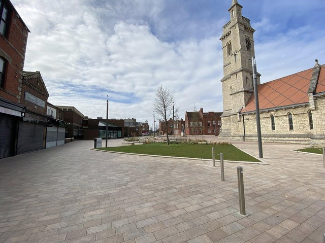 A deserted Hartlepool town centre in March 2020 after the onset of the pandemic.