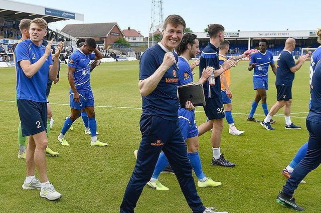 Tony Sweeney and players at the end of the game. Hartlepool United 3-2 Bromley FC National League Playoff. 06-06-20212. Picture by FRANK REID