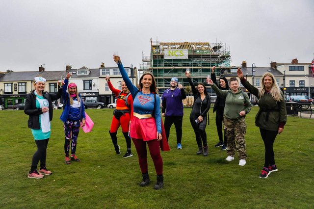 Rachel and eight friends walked for 12 hours in aid of charity.