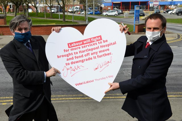 Jonathan Ashworth MP (left) Shadow Secretary of State for Health with Labour by-election candidate Dr Paul Williams outside the University Hospital of Hartlepool.
