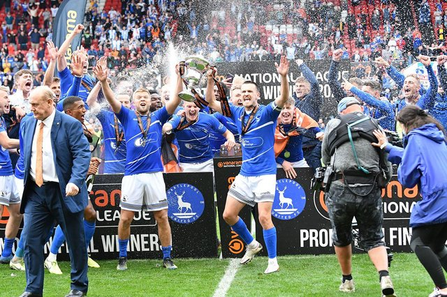 Hartlepool lift the trophy after beating Torquay 5-4 on penalties in Sunday's National League Play-Off Final. Picture by FRANK REID