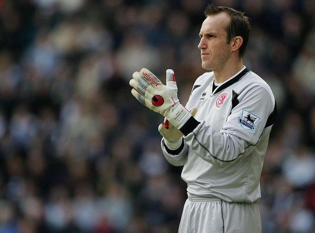 Mark Schwarzer playing for Middlesbrough.