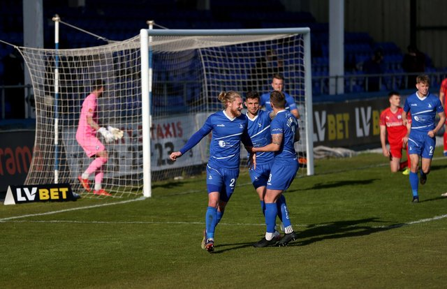Luke Armstrong of Hartlepool United celebrates after putting his team 3-0 up during the Vanarama National League match between Hartlepool United and Chesterfield at Victoria Park, Hartlepool on Saturday 1st May 2021. (Credit: Chris Booth   MI News)