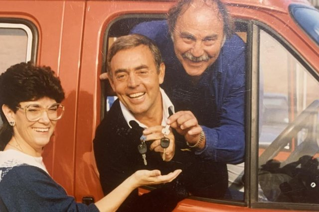 Ian St John and Jimmy Greaves hand over the keys for the new minibus to Warren Road Adult Training Centre Manager Kath Spellman in March 1987.