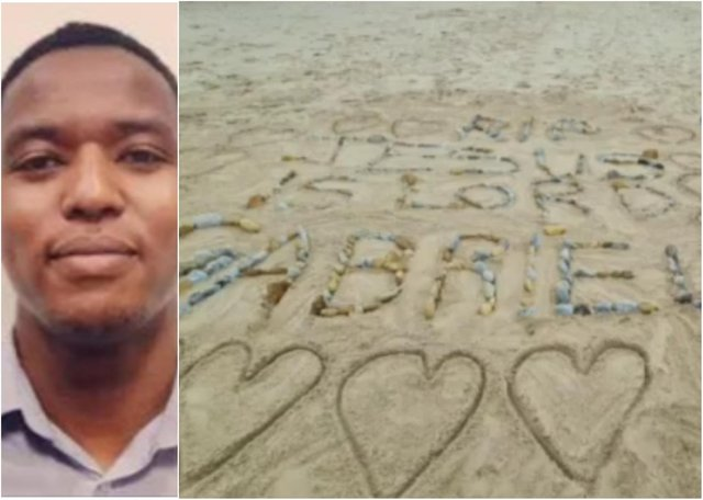 A poignant beach tribute has been made to Gabriel Kariuki, left, after his body was found at Seaton Carew.