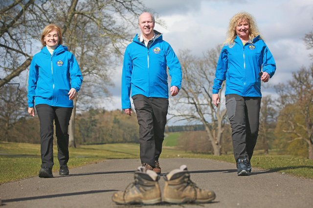Walk & Talk Trust founder Peter Bell with charity trustees Pippa Bell and Clare Edge.