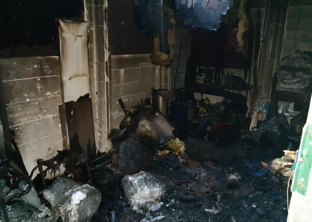 A photo shared by Cleveland Police following damage caused to the clubhouse by the fire.