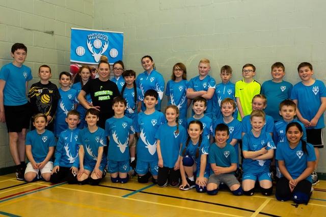 Made By Sport Ambassador Amy Tinkler with the Hartlepool Mavericks dodgeball team.