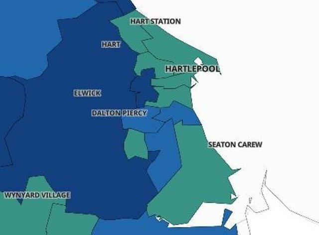 Ten areas of Hartlepool with the lowest Covid 19 rates