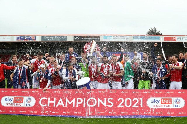 Cheltenham Town were promoted to League One after securing the League Two title last season (Photo by Matthew Lewis/Getty Images)