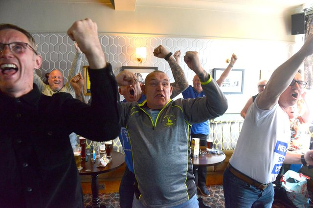 Hartlepool United fans celebrating at the Park Inn.