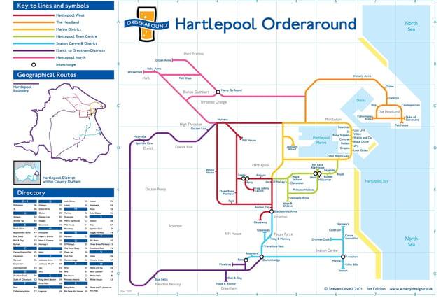 Steve Lovell's London Underground-inspired map of Hartlepool's licensed premises.