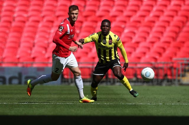 Zaine Francis-Angol of AFC Fylde during the Vanarama National League Play Off Final between AFC Fylde and Salford City at Wembley Stadium on May 11, 2019 in London, England. (Photo by Marc Atkins/Getty Images)