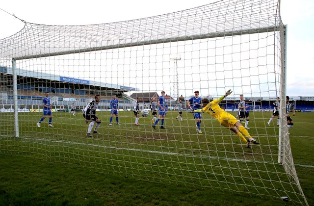 Richie Bennett of Hartlepool United  puts his side 2-0 up during the Vanarama National League match between Hartlepool United and Notts County at Victoria Park, Hartlepool on Saturday 10th April 2021. (Credit: Chris Booth | MI News)