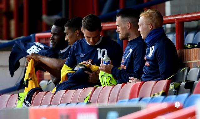 Hartlepool United's substitutes bench at Aldershot Town (photo: Frank Reid).